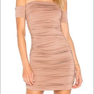 Gorgeous Superdown-Taupe off the shoulder dress